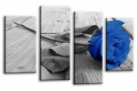 Floral Rose Wall Art Picture Blue Grey White Love Flower Canvas Print 4 Panels