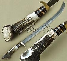 BEAUTIFUL CUSTOM HAND MADE DAMASCUS STEEL HUNTING SWORD KNIFE / STAG HANDLE