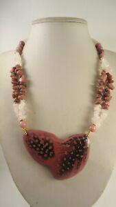 Lee Sands Feather Motif w Rhodonite & Rose Quartz Beads & Chips Necklace