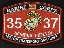 """USMC """"MOTOR TRANSPORT OPS CHIEF"""" 3537 MOS MILITARY PATCH SEMPER FIDELIS"""