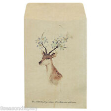 50PCs Yellow Painted Deer Craft Paper Retro Chic Leather Envelopes 16x10.8cm
