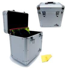 "Gorilla 12"" LP Vinyl Record Carry Case DJ Storage Box Silver Holds 60 (Pair)"