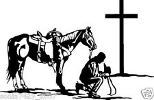 Cowboy Praying at the Cross w/Horse   vinyl window sticker/decal/graphic