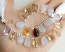 96.5ctw Chalcedony Citrine Garnet Scapolite Pink Amethyst Concave Pear Beads