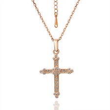 18K Rose Gold Filled Solid Vintage SWAROVSKI Crystal Cross Pendant Necklace