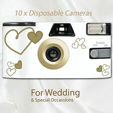10 x Disposable Camera - flash 27exp wedding gold hearts white table cards