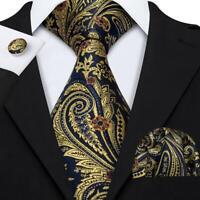Seide Herren Krawatte Gold Blau Paisley  Manschettenknöpfe & Taschentuch Set