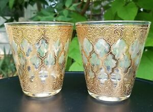 Culver Valencia Flared Double Old Fashioned Bar Glasses 22kt Gold Green Diamonds