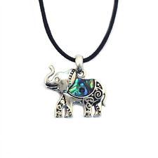 "Elephant Charm Pendant Fashionable Necklace - Abalone Paua Shell - 18"" Chain"