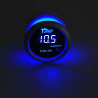"""2"""" 52mm Black Car Auto Digital Blue LED Volt Voltage LED Gauge Kit W8"""
