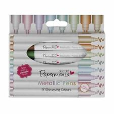 8 x Metallic Shimmer Bullet Tip Marker Pens Pastel Rainbow Colours (Papermania)