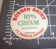 Milk Bottle Cap from Border Dairy, Ft. Francis Ontario Canada, 10% past. cream