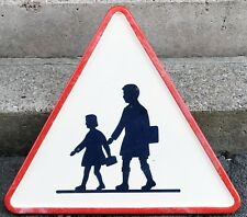 Old French enamel street sign road warning school crossing children pupils 1966