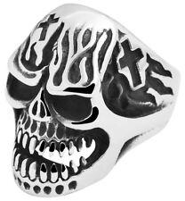 Akzent Ring Edelstahl silber + schwarz Totenkopf Skull Edelstahlring Herrenring