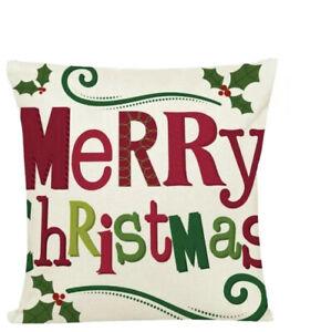 Throw Pillow Case Cover Christmas Green Decor Merry Holly Zipper Enclosure