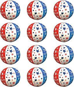 "18 Pack Patriotic Stars & Stripes Theme Inflatable Beach Balls 4.5"""