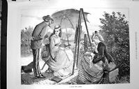 Original Old Antique Print 1872 Nature Sketch Lady Artist Painting Fine Art