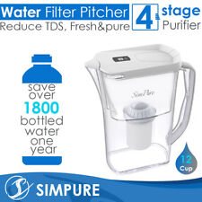 12 Cup 4 Layer Larger Water Filter Drinking Pitcher BPA-Free Purifier Reduce TDS