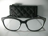 Foster Grant Simona Black Glitter Satin Rhinestone Reading Glasses w/ Case +2.50