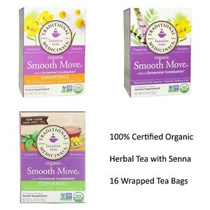 LAXATIVE TEA 100% CERTIFIED ORGANIC SMOOTH MOVE HERBAL NATURAL SENNA LEAF 16 BAG