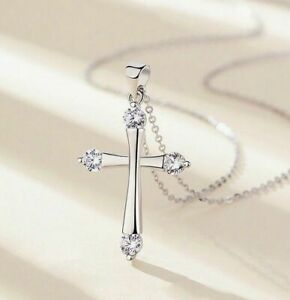 Crystal Cross Pendant Chain Necklace 925 Sterling Silver Jewellery Gift UK