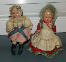 "2 Vintage Celluloid Dolls! Denmark 10"" & Russian? Celluloid Face Stuffed Body 9"""
