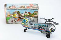 VINTAGE RARE HELICOPTER TIN TOY 60's 70's GREEK WIND UP MECHANICAL AIR CRAFT