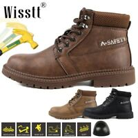 Wisstt Waterproof Leather Men Safety Boots Steel Toe Cap Work Shoes Ankle Hiking