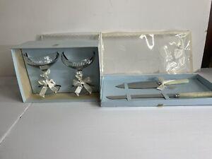 Vintage 70's   Groom Wedding Glasses Cake Knife Set treasure masters Boho