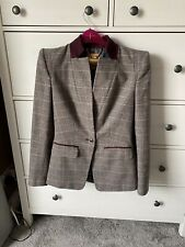 Ted Baker Burgundy Gray Tartan Blazer Size 1 Uk 8