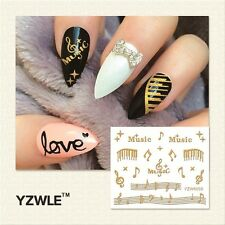 3D Nail Art Stickers Decals Metallic Gold Music Musical Notes Gel Polish (6005)