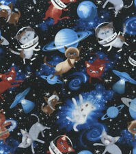 BTY KITTENS in SPACE with Planets Print 100% Cotton Quilt Craft Fabric by Yard