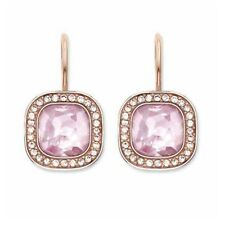 New Thomas Sabo Silver & Rose Gold Plate, Pink & White Stone Earrings