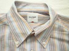 E7959 Olymp Luxor Businesshemd Kurzarm 41 orange, blau, weiß gestreift Neuwertig