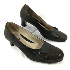 NEW Cosy Goose Green Reptile embossed Patent Leather Pumps Sz 38 US Sz 7 Greece