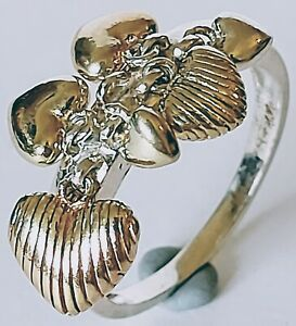 Vintage Sterling Silver 925 Ring with Little Dangling / Swinging Hearts