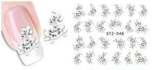 White Flowers Nail Art Sticker Decal Decoration Manicure Water Transfer