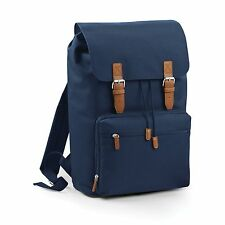 Navy Vintage Laptop Bag Backpack Rucksack Case School Work College Briefcase