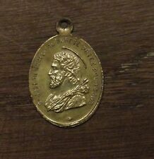 Antique religious bronze medal pendant Saint Joseph - Gurdian Angel B
