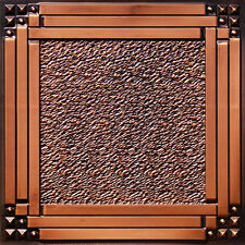 PVC Faux Tin Ceiling Tiles Glue Up Drop In 24 x 24 D209 Antique Copper