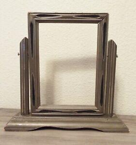Vintage Pivot Tilt Swivel Gray Black Art Deco Tabletop Photo Frame, 5 x 7