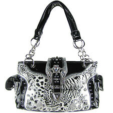 BLACK LEOPARD STUDDED RHINESTONE CROSS LOOK SHOULDER HANDBAG CONCEALED CARRY