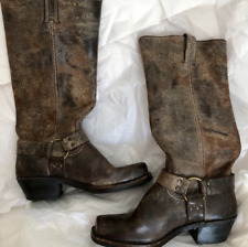EUC Frye Tall Harness Boots Distressed size 8 1/2