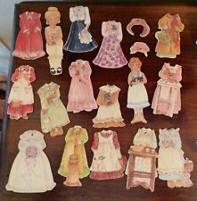 Vintage Bethany Farms Wooden Peg Paper Dolls. Old Fashioned 2 Doll Lot.