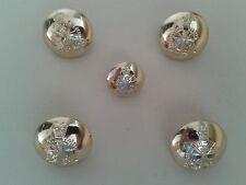 5 x ARMY APPRENTICES SCHOOL MILITARY BUTTONS - Gold coloured  - (2 sizes) - VGC