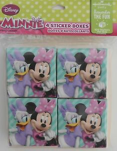 Party Favors DISNEY MINNIE MOUSE 100 Piece Sticker Boxes Birthday Loot Bag 4 Pk