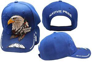 Native American Eagle Indian Native Pride Shadow Royal Blue Ball Cap Hat