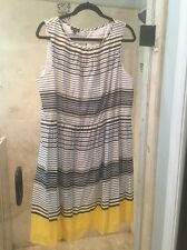 Talbots Dress Striped Sundress Cotton Blend Size 16 Navy Blue Yellow Nautical