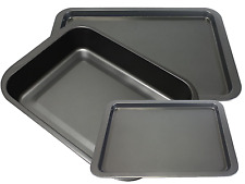 3x Roasting Baking Trays Kitchen Oven Non Stick Pans Cookware Dish Roaster Tins2
