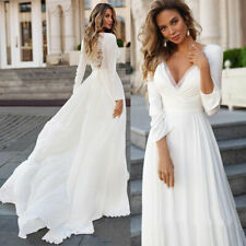 Beach Chiffon Wedding Dresses Long Sleeve Boho Bridal Gown White Lace Appliques